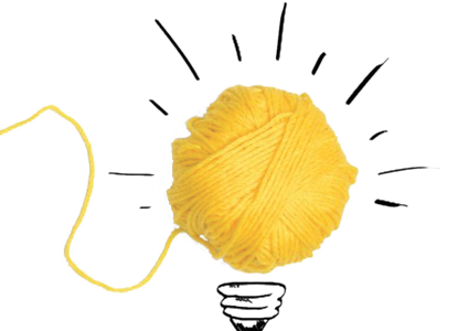 Blog logo, a light bulb made of cotton